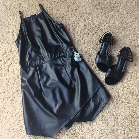 Charlotte Russe Pants - Charlotte Russe Black Pleather Romper Size M